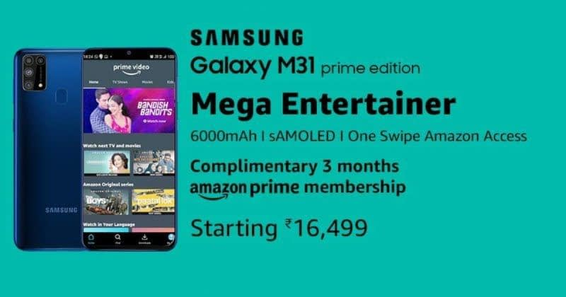 Samsung Galaxy M31 Prime launched in India with three months free Amazon Prime subscription fee: Price