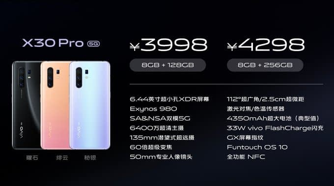 Vivo launches X30 Series with 5G, Exynos 980 and 64MP Camera