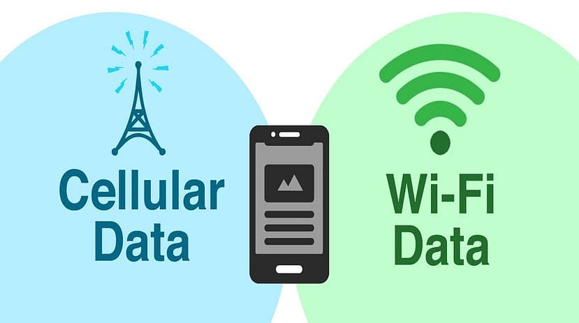 What is the difference between Cellular Data and Wi-Fi Data?