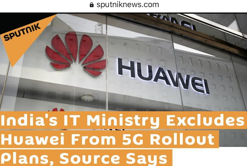 Indian IT Department exclude Huawei from its National 5G Spectrum