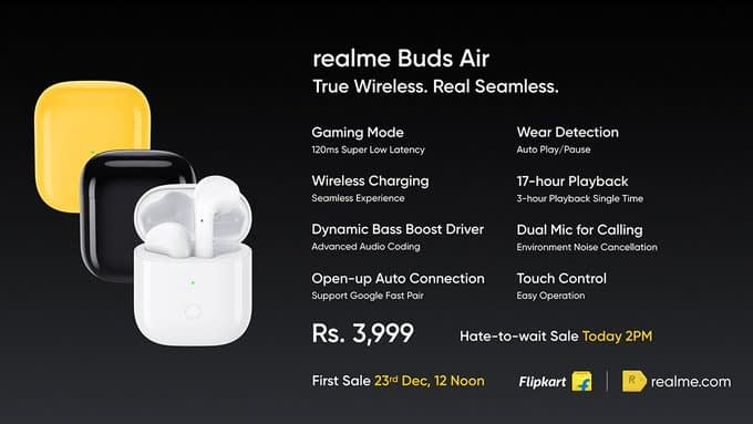 Realme Buds Air Truly Wireless Earbuds launched